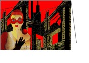 Glove Digital Art Greeting Cards -   014 - In Red   City Darkness  Greeting Card by Irmgard Schoendorf Welch