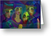 Gimp Greeting Cards -  027 - Sisters in blue ... Greeting Card by Irmgard Schoendorf Welch