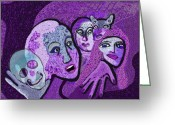 Pink And Purple Greeting Cards -    524 - Memento mori Greeting Card by Irmgard Schoendorf Welch
