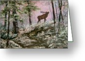 Snow Scenes Greeting Cards -  Call of the Wild Greeting Card by Jean Walker