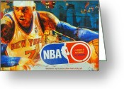 Lebron Greeting Cards -  CARMELO ANTHONY - MELO - NY Knicks Greeting Card by Dan Haraga