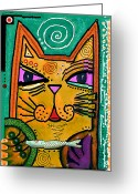Contemporary Portraits. Greeting Cards -  House of Cats series - Fish Greeting Card by Moon Stumpp