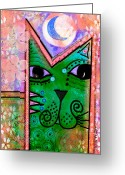 Contemporary Portraits. Greeting Cards -  House of Cats series - Moon Cat Greeting Card by Moon Stumpp