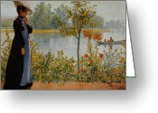 Lost In Thought Painting Greeting Cards -  Indian Summer Greeting Card by Carl Larsson