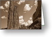 Spider Rock Art Greeting Cards -  Spider Rock Canyon De Chelly Greeting Card by Nadine and Bob Johnston