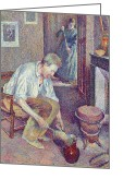 Pointillist Painting Greeting Cards -  The Coffee Greeting Card by Maximilien Luce