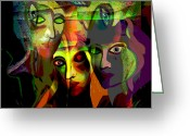 Luminescent Greeting Cards -  The Demons  Angels  - 214 Greeting Card by Irmgard Schoendorf Welch