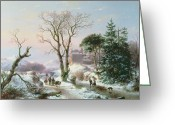 Old Country Roads Greeting Cards -  Wooded winter river landscape Greeting Card by  Andreas Schelfhout