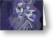 Glove Digital Art Greeting Cards - 028 -   Hallucination  N Greeting Card by Irmgard Schoendorf Welch