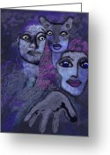 Glove Digital Art Greeting Cards - 060 - Hallucination  J Greeting Card by Irmgard Schoendorf Welch