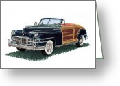 Photographs Painting Greeting Cards - 1948 Chrysler Town and Country Greeting Card by Jack Pumphrey