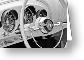 Kaiser Greeting Cards - 1954 Kaiser Darrin Steering Wheel Greeting Card by Jill Reger