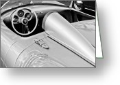 Black-and-white Photographs Greeting Cards - 1955 Porsche Spyder Greeting Card by Jill Reger