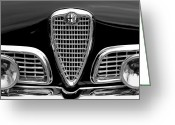 Black And White Photos Greeting Cards - 1959 Alfa Romeo Giulietta Sprint Grille Greeting Card by Jill Reger