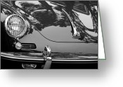 Black-and-white Photographs Greeting Cards - 1963 Porsche 356 B Cabriolet Hood Emblem Greeting Card by Jill Reger