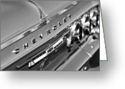 Black And White Photos Greeting Cards - 1964 Chevrolet Impala Taillights and Emblems Greeting Card by Jill Reger