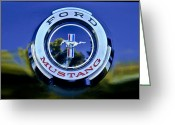 Mustang Greeting Cards - 1965 Shelby prototype Ford Mustang Emblem Greeting Card by Jill Reger