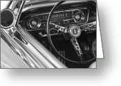 Classic Mustang Greeting Cards - 1965 Shelby prototype Ford Mustang Steering Wheel Greeting Card by Jill Reger