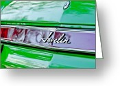 American Vintage Greeting Cards - 1969 AMC Javelin SST Taillight Emblem Greeting Card by Jill Reger