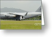 Featured Greeting Cards - A C-17 Globemaster Iii Of The U.s. Air Greeting Card by Remo Guidi