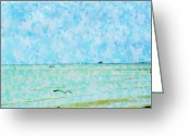 Florida Bridge Mixed Media Greeting Cards - A Day At Sanibel Shores Greeting Card by Florene Welebny