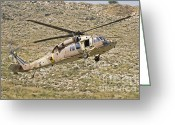 Featured Greeting Cards - A Uh-60l Yanshuf Helicopter Greeting Card by Ofer Zidon