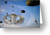 Veterans Day Greeting Cards - Airborne Greeting Card by JC Findley