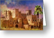 Rabat Painting Greeting Cards - Ait Benhaddou  Greeting Card by Catf