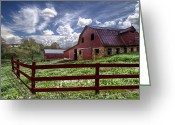 Red Roof Greeting Cards - All American Greeting Card by Debra and Dave Vanderlaan