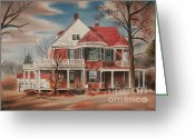 "\\\""haunted House\\\\\\\"" Greeting Cards - American Home III Greeting Card by Kip DeVore"