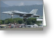 Featured Greeting Cards - An Fa-18 Super Hornet Of The U.s. Navy Greeting Card by Remo Guidi