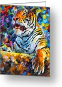 Leonid Afremov Greeting Cards - Angry Tiger Greeting Card by Leonid Afremov