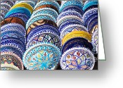 Moroccan Market Greeting Cards - Arabic Colorful Pottery  Greeting Card by Nikolina Petolas