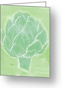 Green Artichoke Greeting Cards - Artichoke Greeting Card by Linda Woods