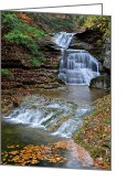 Waterfalls Greeting Cards - Autumn Flows Forth Greeting Card by Robert Harmon