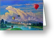 Balloon Fiesta Greeting Cards - Ballooning on the Rio Grande Greeting Card by Art West