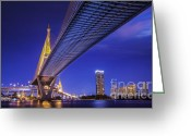 Mega Greeting Cards - Bhumibol Bridge in Thailand  Greeting Card by Anek Suwannaphoom