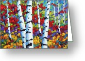 Artiste Greeting Cards - Birches in abstract by Prankearts Greeting Card by Richard T Pranke