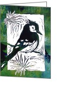 Blues Reliefs Greeting Cards - Bird Linocut 1 Greeting Card by Penny OHalloran