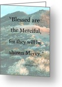 Januszkiewicz Mixed Media Greeting Cards - Blessed are the Merciful Greeting Card by Patricia Januszkiewicz