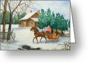 Log Cabins Painting Greeting Cards - Bo and Ozark - Dashing The Fab Two Greeting Card by Rhonda Leonard