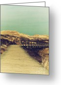 Beach Scenery Mixed Media Greeting Cards - Boarded Walkway Greeting Card by Angela Doelling AD DESIGN Photo and PhotoArt