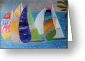 Golden Waves Reliefs Greeting Cards - Boats at Sunset 1 Greeting Card by Vicky Tarcau