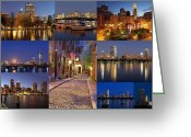 Boston Massachusetts Skyline Skyscrapers Building Office Towers Structures Water Harbor Harbour Reflect Reflection Reflecting Sea Bay Rowes Wharf Tall  Waterfront Day Daytime City Urban New England Greeting Cards - Boston Skyline Photography Greeting Card by Juergen Roth
