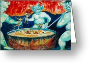 Burma Greeting Cards - Buddhist Hell Greeting Card by RicardMN Photography