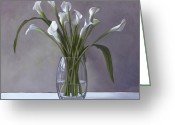 Calla Lily Greeting Cards - Calla Lilies in a vase Greeting Card by Linda Tenukas