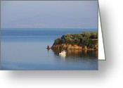 Pelion Greeting Cards - Calm Sea Greeting Card by Eleni Makraki