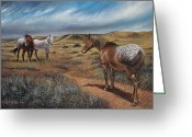 Hay Painting Greeting Cards - Cayuse Country Greeting Card by Ricardo Chavez-Mendez