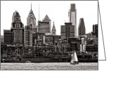 Philly Greeting Cards - Center City Philadelphia Greeting Card by Olivier Le Queinec