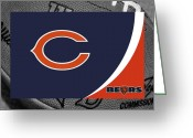 Ball Greeting Cards - Chicago Bears Greeting Card by Joe Hamilton